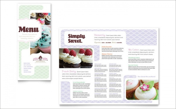 Bakery & Cupcake Shop Menu Brochure