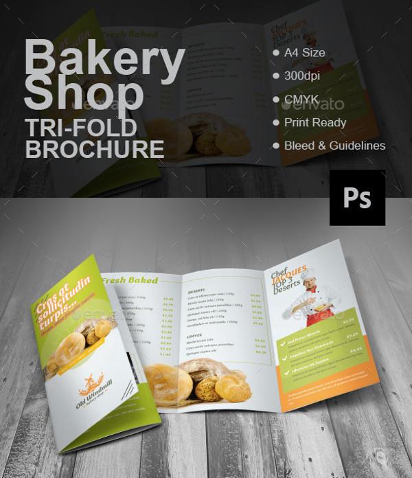 Bakery Shop Tri-fold Brochure Template