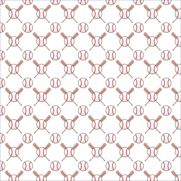 Baseball & Bat Scrapbook Paper Pattern