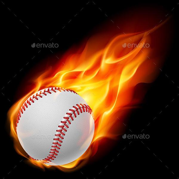 Baseball on Fire Illustration
