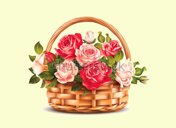 Basket With Roses Illustration