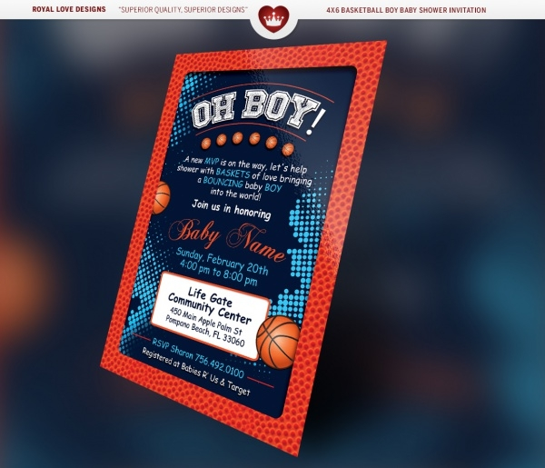 Basketball Boy Baby Shower Flyer