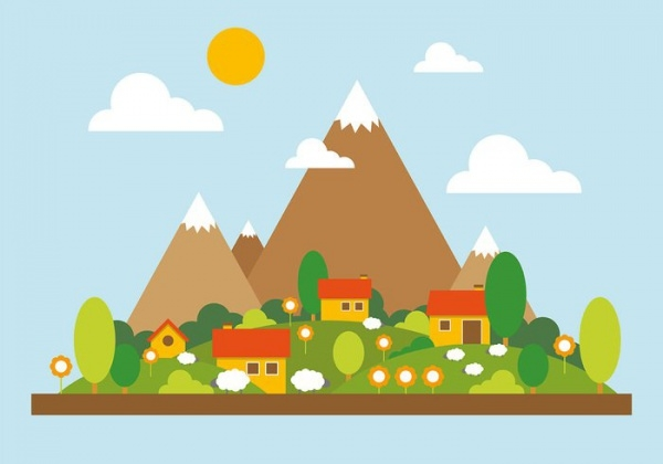 Beautiful Mountain Landscape Illustration