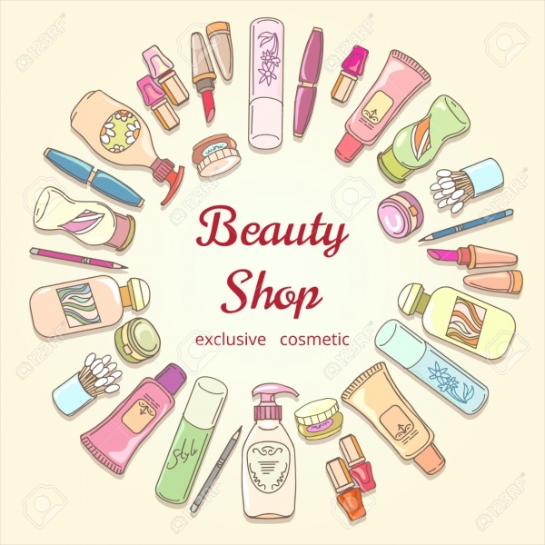 Beauty Shop Cosmetic Label Doodle Vector