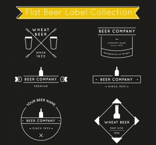 Beer Label Collection in Flat Style