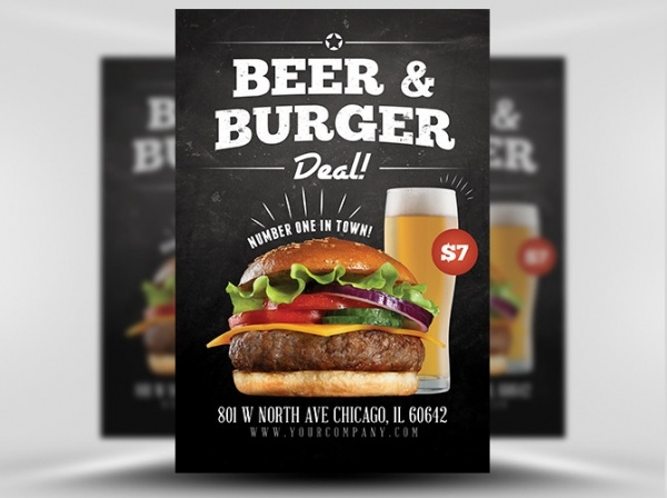 Beer and Burger Offer Flyer Template