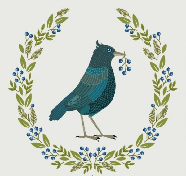 Bird illustration with floral Vector
