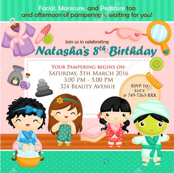 birthday spa party invitation