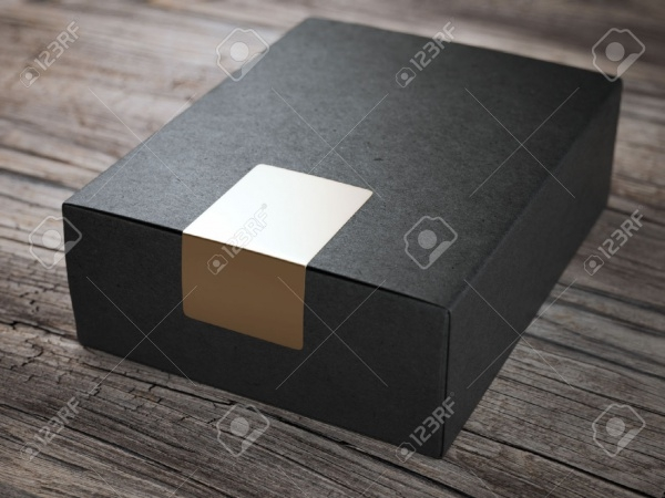 Black Cardboard Packaging With Golden Sticker