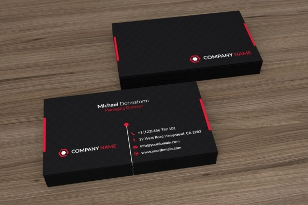 Black Red Corporate Business Card Design