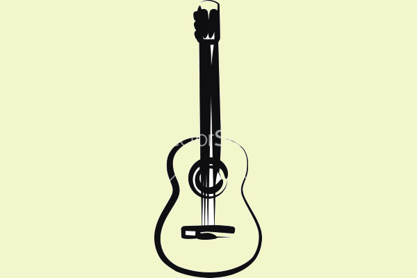 Black & White Guitar Vector