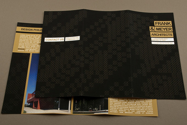 black and gold architecture brochure