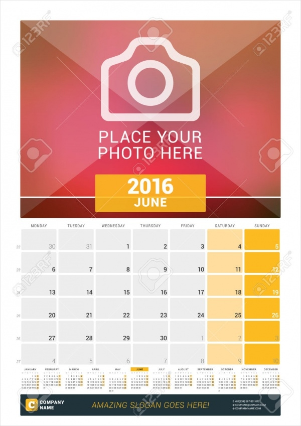 Blank Photo Wall Monthly Calendar