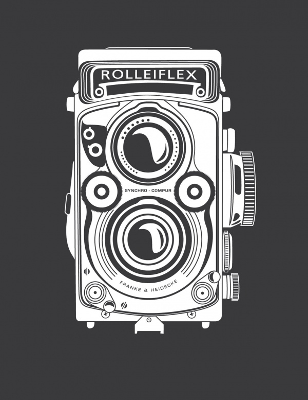 Block Print Camera Illustration
