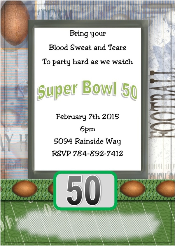 Blood Sweat & Tears Super Bowl Invitation