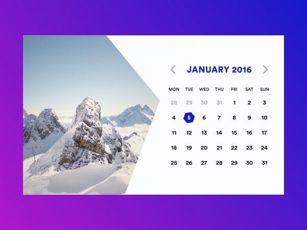 Blue Hexagon Photo Calendar