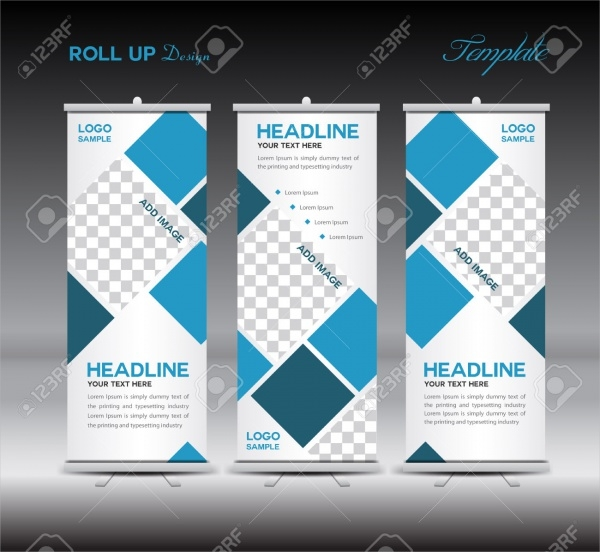 Blue Roll Up Banner Template Illustration