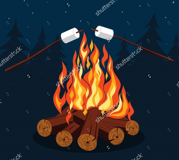 Bonfire with Marshmallow Illustrative Design