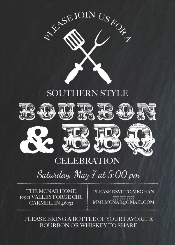 Bourbon & BBQ Invite Template