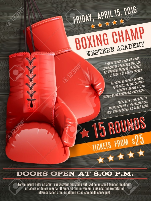 Boxing Champ Realistic Red Gloves Flyer