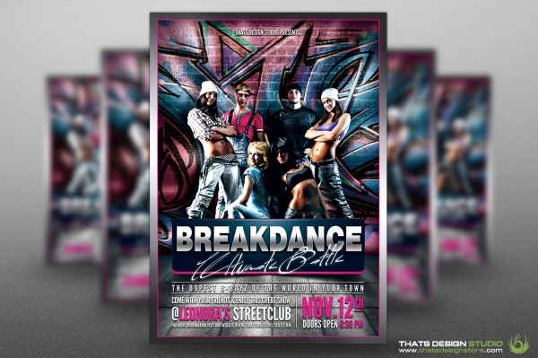 Break Dance Battle Exhibition Flyer