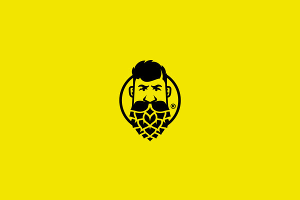 Brewery Guy Mustache Face Logo