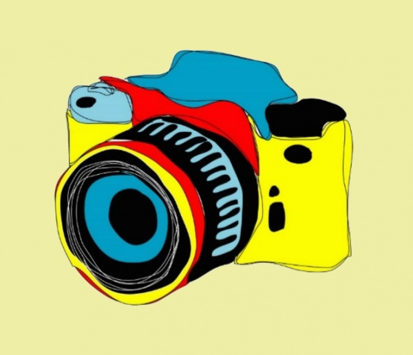 Bright Camera Illustration Postcard