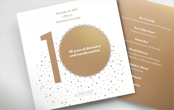 Broad Institute's 10th Anniversary Invitation