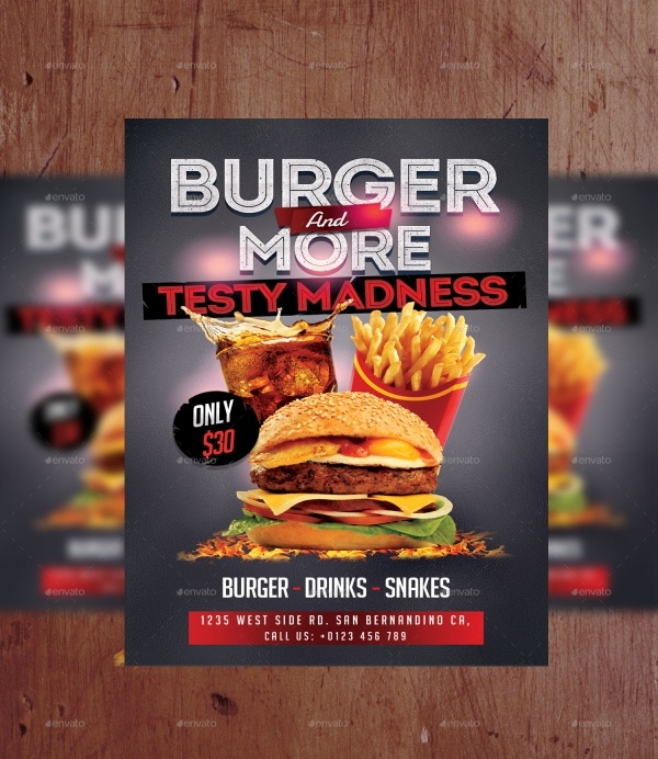 Burger A4 Design Flyer