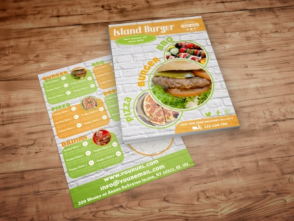 Burger Menu Trifold Flyer