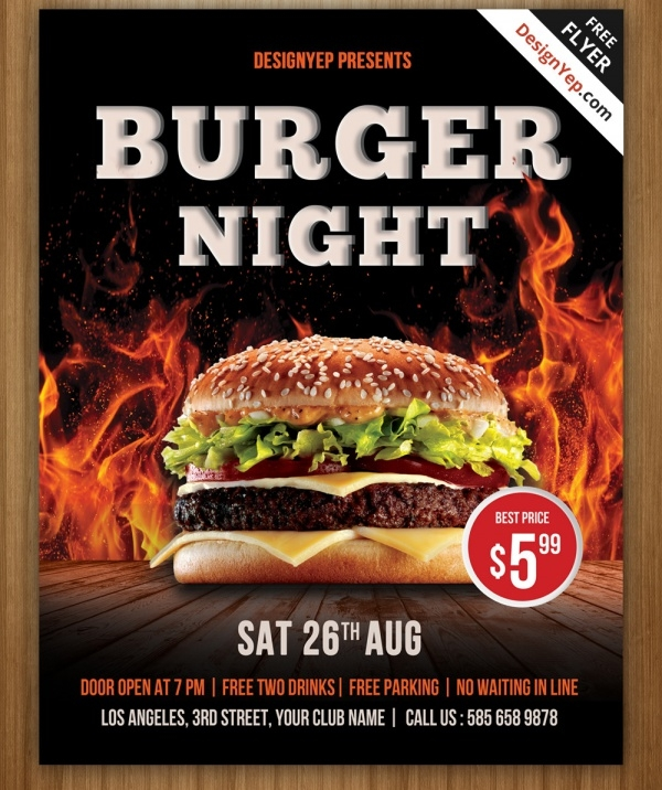 Burger Night Flyer PSD Template