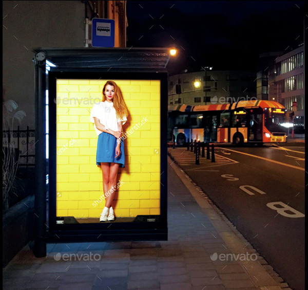 Bus Stops Advertising At Night