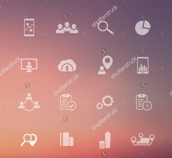 Business Transparent Icons on Blur Background