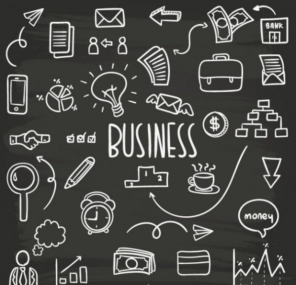 Business doodles collection Free Vector