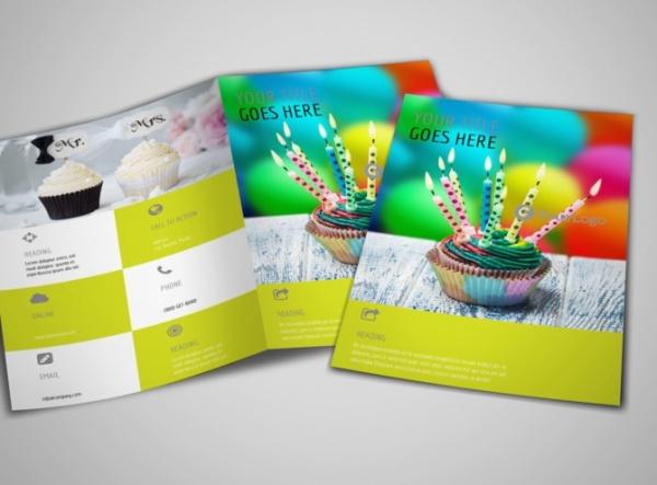 Cake Shop & Bakery Bi-Fold Brochure