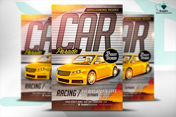 Car Parade Show Flyer PSD Template
