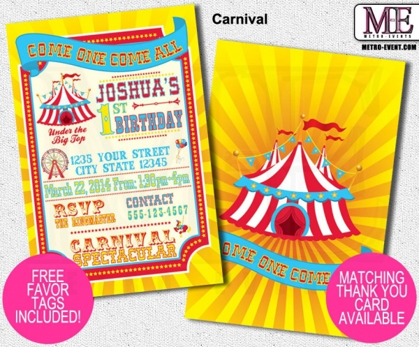 Carnival Invitations and Circus Invitations