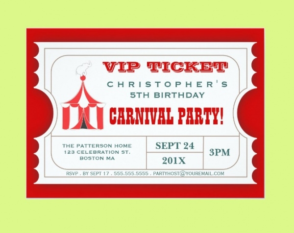 Carnival Party Ticket Invitation
