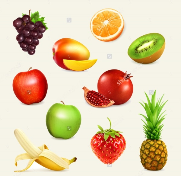 Cartoon Fruit Set Illustration