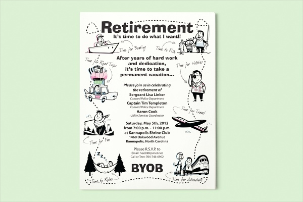 cartoon retirement party flyer template