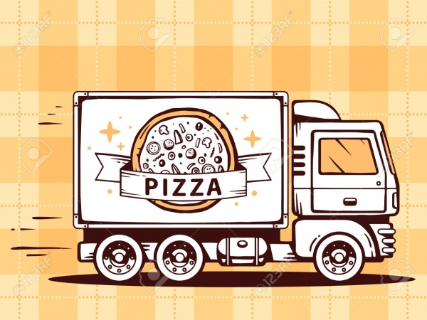 Cartoon Pizza Truck Advertising