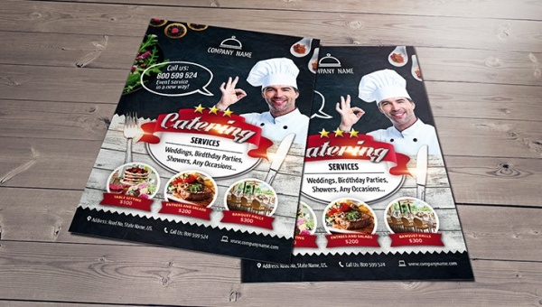catering service free psd flyer template