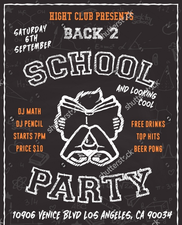 Chalk Board Back to School Party Flyer