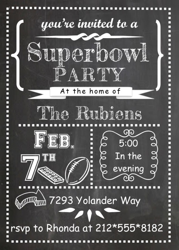 Chalkboard & Football Super Bowl Party Invitation