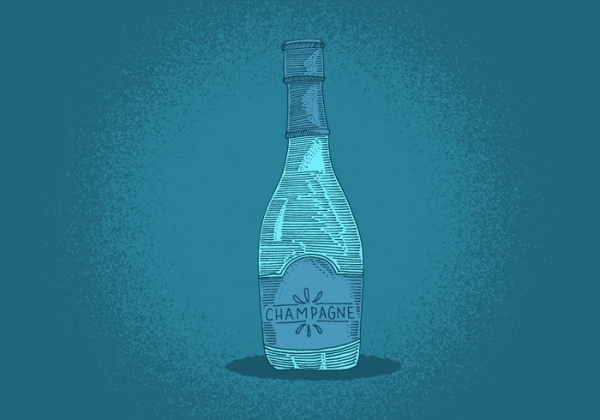 Champagne Bottle Line Drawing Vector