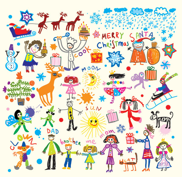 Cheerful Children Clip Art Illustration