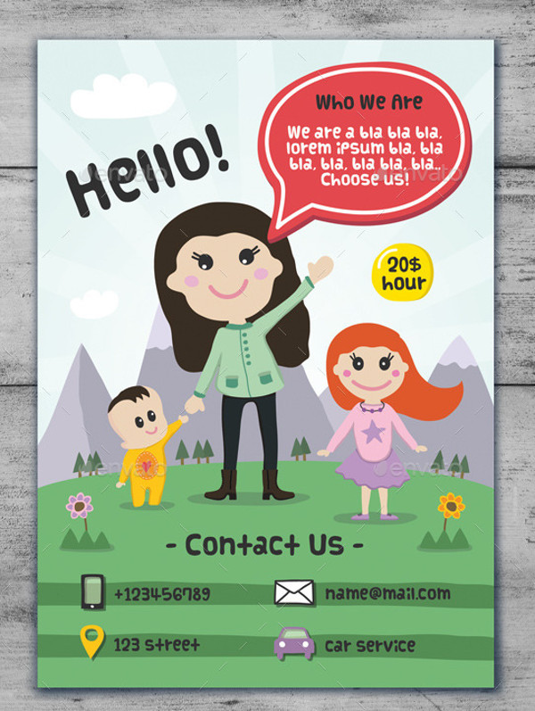 Child Care & Babysitting - Cartoon Flyer
