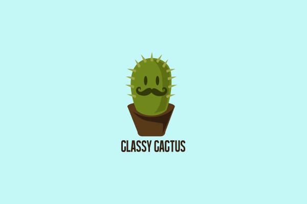 Classy Cactus Mustache Funky Logo