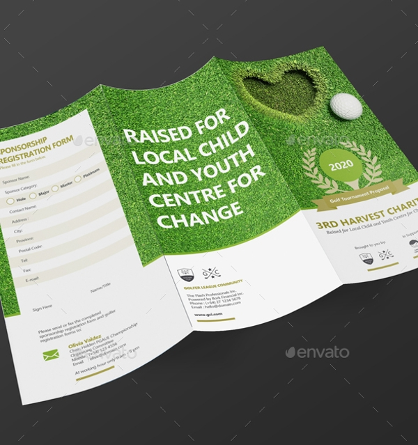 High Quality Clean Tri Fold Golf Tournament Brochure