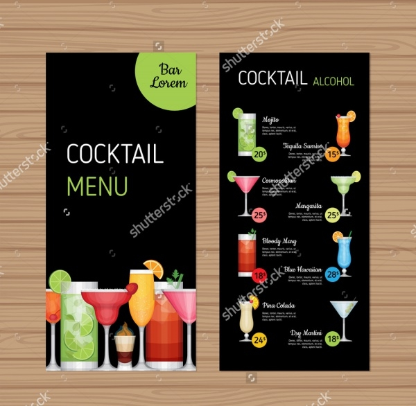 Cocktail Bar menu brochure